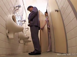 Sayoko Blows A Guy In A Public Restroom